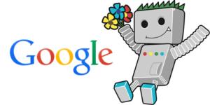 Googlebot crawler with Google logo