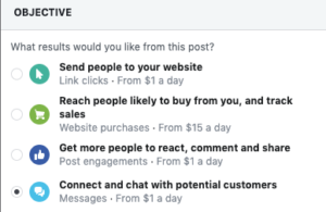 facebook objective ad