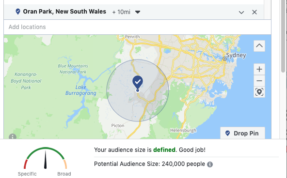 Target Facebook Ad Within a 10 mile radius