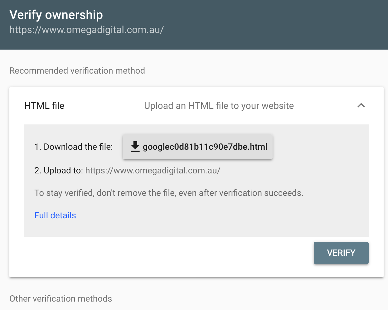 HTML verification is our prference when verifying your domain in Google Search Console